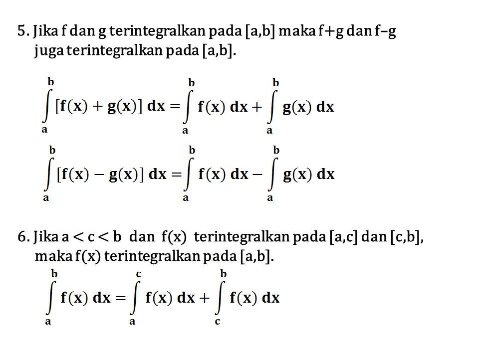 5. Jika f dan g terintegralkan pada [a,b] maka f+g dan f–g